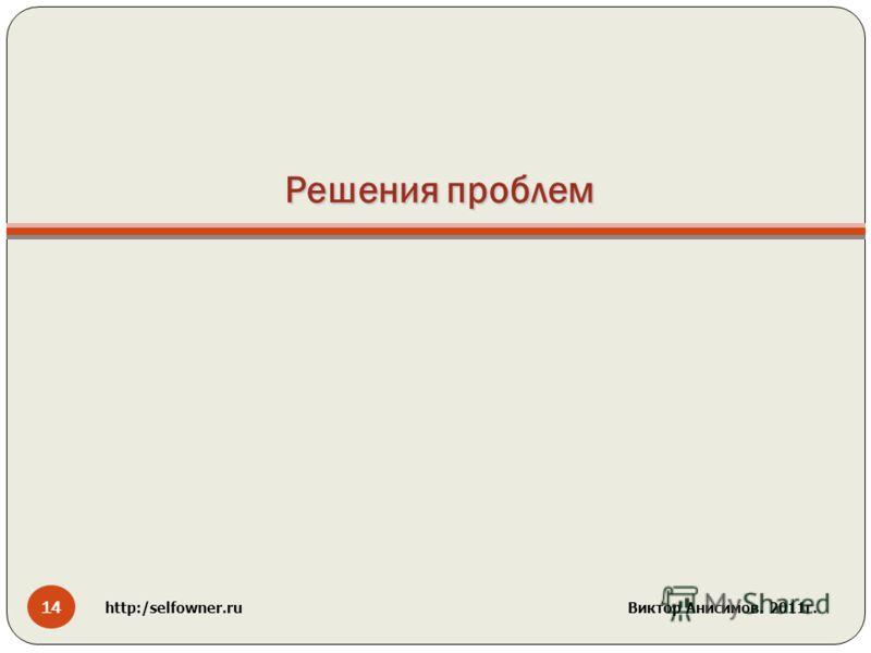 Решения проблем 14 http:/selfowner.ru Виктор Анисимов. 2011г.