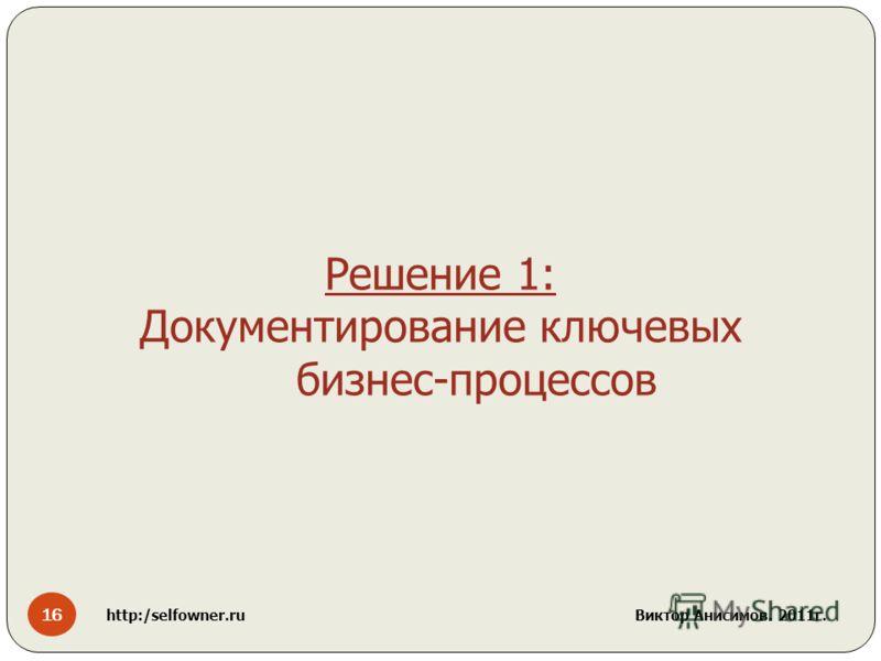 16 http:/selfowner.ru Виктор Анисимов. 2011г. Решение 1: Документирование ключевых бизнес-процессов