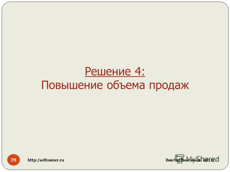 29 http:/selfowner.ru Виктор Анисимов. 2011г. Решение 4: Повышение объема продаж