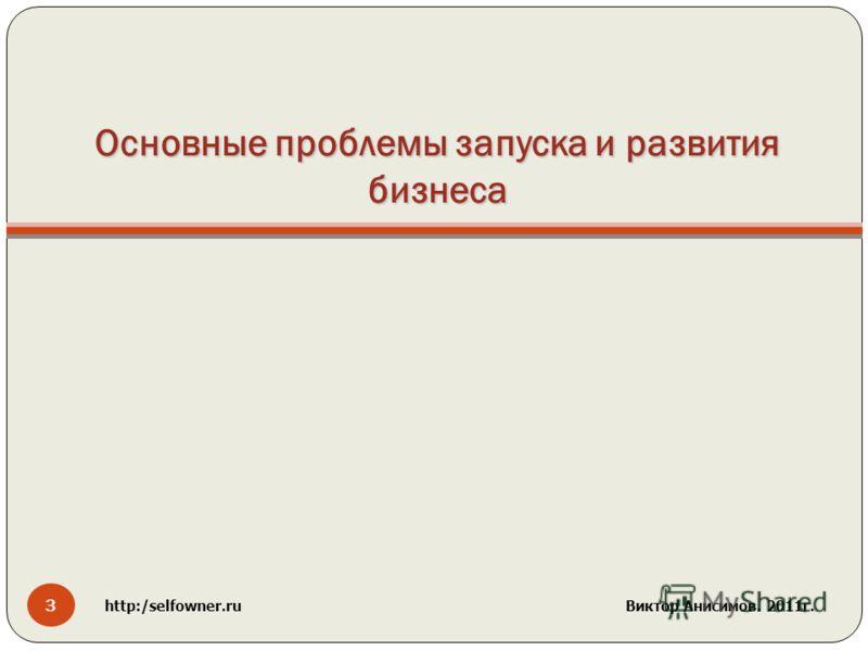 Основные проблемы запуска и развития бизнеса 3 http:/selfowner.ru Виктор Анисимов. 2011г.