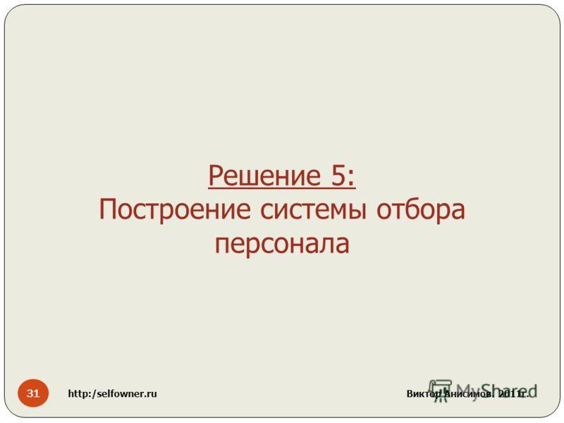 31 http:/selfowner.ru Виктор Анисимов. 2011г. Решение 5: Построение системы отбора персонала