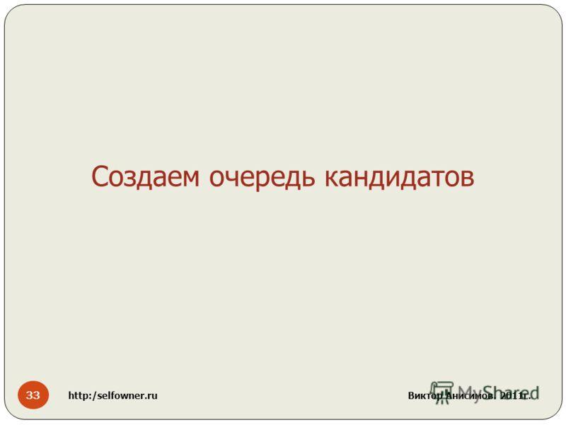 33 http:/selfowner.ru Виктор Анисимов. 2011г. Создаем очередь кандидатов
