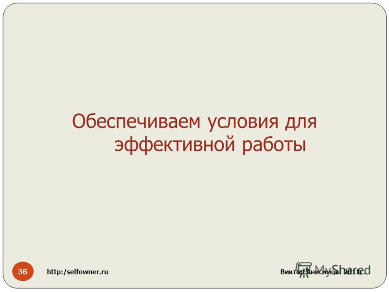 36 http:/selfowner.ru Виктор Анисимов. 2011г. Обеспечиваем условия для эффективной работы