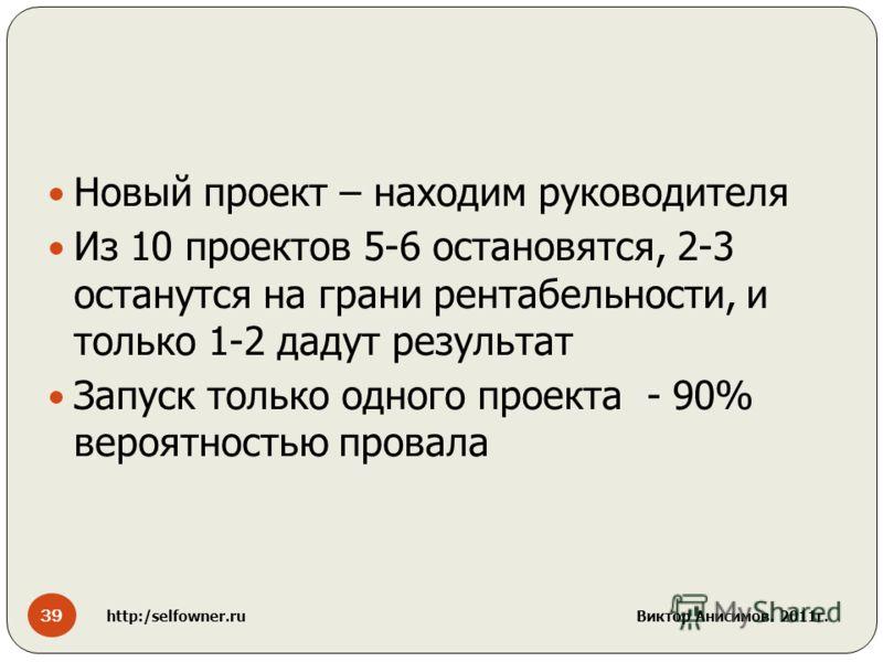 Новый проект – находим руководителя Из 10 проектов 5-6 остановятся, 2-3 останутся на грани рентабельности, и только 1-2 дадут результат Запуск только одного проекта - 90% вероятностью провала 39 http:/selfowner.ru Виктор Анисимов. 2011г.