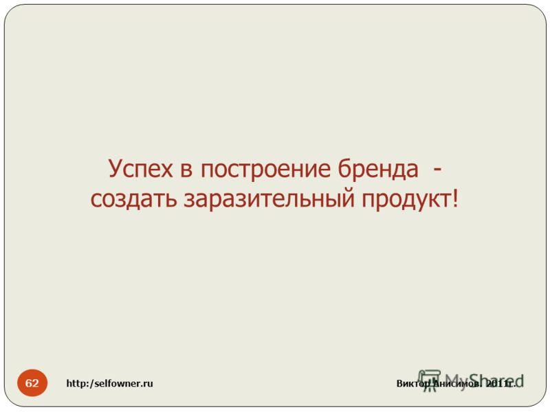 62 http:/selfowner.ru Виктор Анисимов. 2011г. Успех в построение бренда - создать заразительный продукт!