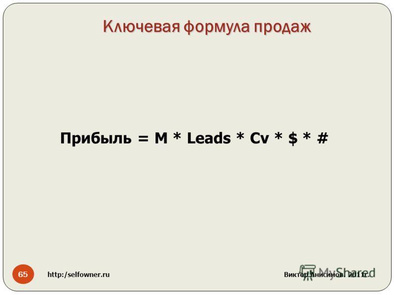 Ключевая формула продаж Прибыль = М * Leads * Cv * $ * # 65 http:/selfowner.ru Виктор Анисимов. 2011г.