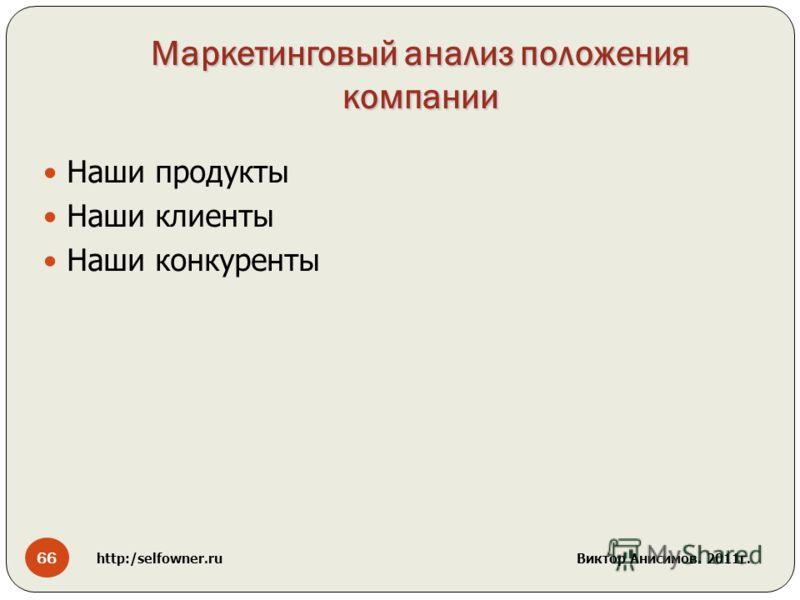 Маркетинговый анализ положения компании Наши продукты Наши клиенты Наши конкуренты 66 http:/selfowner.ru Виктор Анисимов. 2011г.