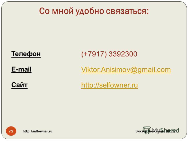 Со мной удобно связаться: Телефон (+7917) 3392300 E-mail Viktor.Anisimov@gmail.com Сайт http://selfowner.ru 72 http:/selfowner.ru Виктор Анисимов. 2011г.