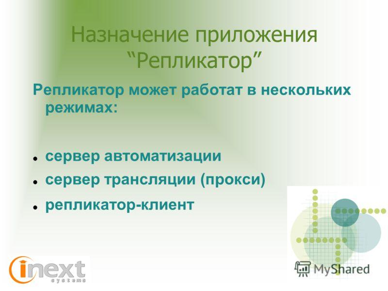 Назначение приложения Репликатор Репликатор может работат в нескольких режимах: сервер автоматизации сервер трансляции (прокси) репликатор-клиент