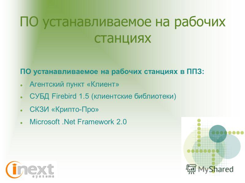 ПО устанавливаемое на рабочих станциях ПО устанавливаемое на рабочих станциях в ППЗ: Агентский пункт «Клиент» СУБД Firebird 1.5 (клиентские библиотеки) СКЗИ «Крипто-Про» Microsoft.Net Framework 2.0