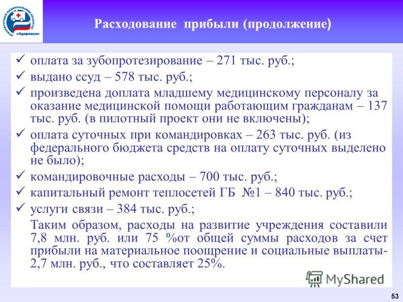 53 Расходование прибыли (продолжение ) оплата за зубопротезирование – 271 тыс. руб.; выдано ссуд – 578 тыс. руб.; произведена доплата младшему медицинскому персоналу за оказание медицинской помощи работающим гражданам – 137 тыс. руб. (в пилотный прое