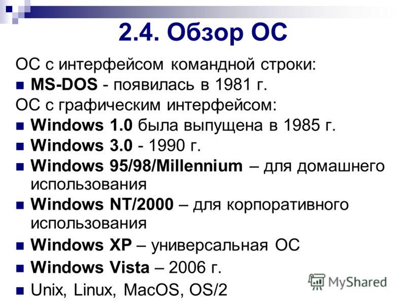ОС с интерфейсом командной строки: MS-DOS - появилась в 1981 г. ОС с графическим интерфейсом: Windows 1.0 была выпущена в 1985 г. Windows 3.0 - 1990 г. Windows 95/98/Millennium – для домашнего использования Windows NT/2000 – для корпоративного исполь