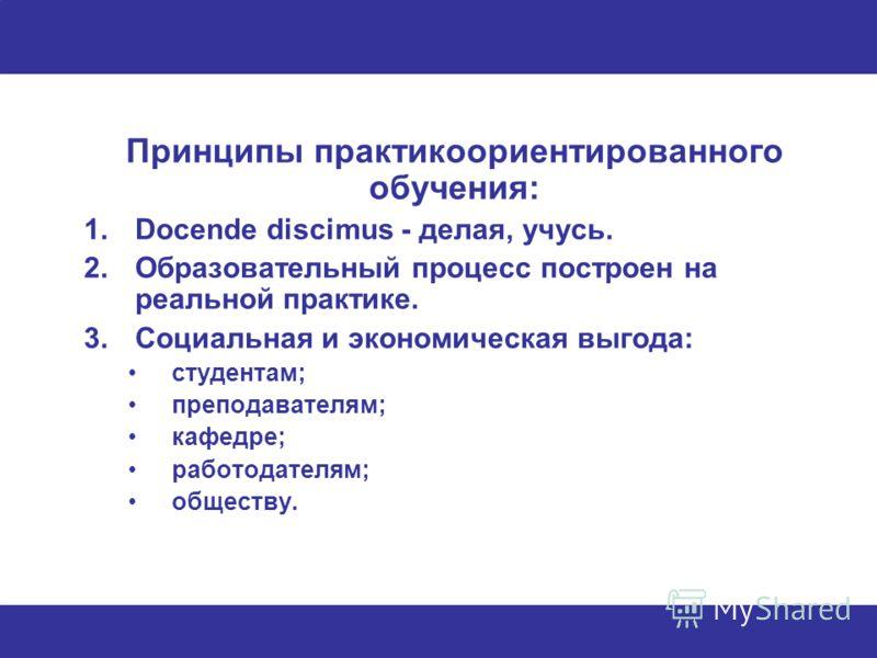 Принципы практикоориентированного обучения: 1.Docende discimus - делая, учусь. 2.Образовательный процесс построен на реальной практике. 3.Социальная и экономическая выгода: студентам; преподавателям; кафедре; работодателям; обществу.