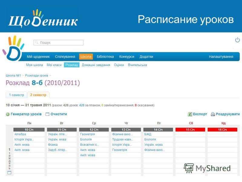Страница администрирования Расписание уроков