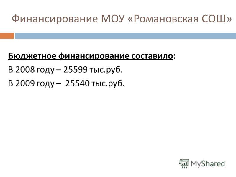 Финансирование МОУ « Романовская СОШ » Бюджетное финансирование составило : В 2008 году – 25599 тыс. руб. В 2009 году – 25540 тыс. руб.