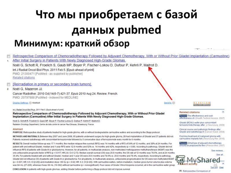 Что мы приобретаем с базой данных pubmed Минимум: краткий обзор 26