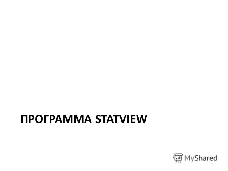 ПРОГРАММА STATVIEW 65