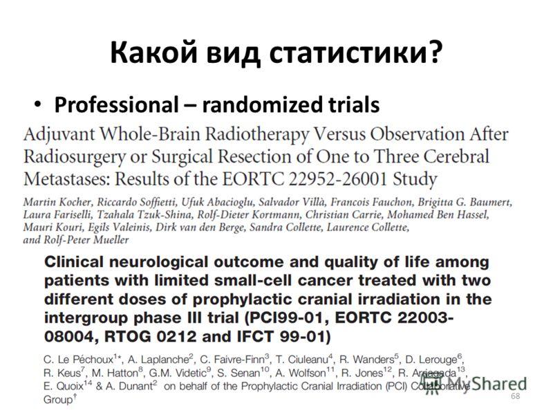 Какой вид статистики? Professional – randomized trials 68