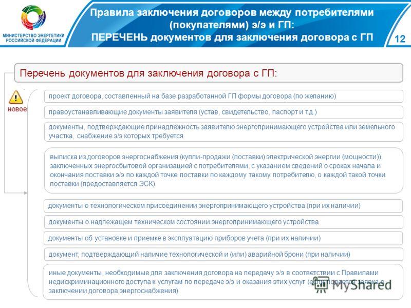 12 Правила заключения договоров между потребителями (покупателями) э/э и ГП: ПЕРЕЧЕНЬ документов для заключения договора с ГП проект договора, составленный на базе разработанной ГП формы договора (по желанию) правоустанавливающие документы заявителя