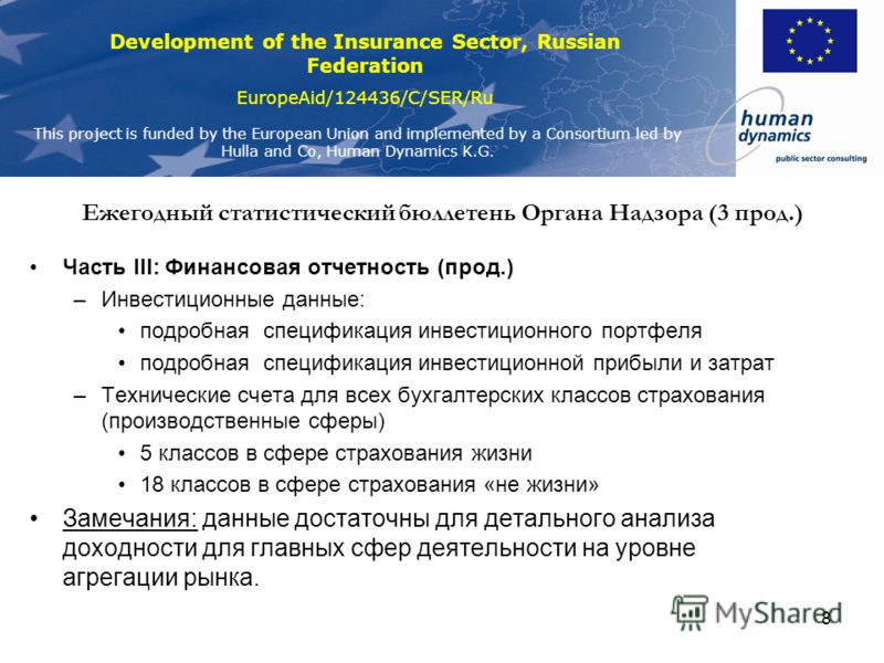 Development of the Insurance Sector, Russian Federation EuropeAid/124436/C/SER/Ru This project is funded by the European Union and implemented by a Consortium led by Hulla and Co, Human Dynamics K.G. 8 Ежегодный статистический бюллетень Органа Надзор
