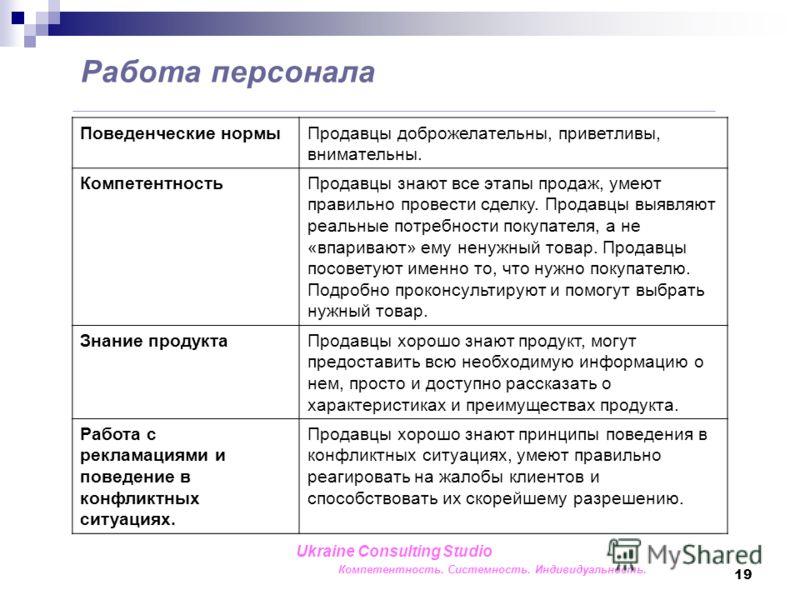 19 Работа персонала Ukraine Consulting Studio Компетентность. Системность. Индивидуальность. Поведенческие нормыПродавцы доброжелательны, приветливы, внимательны. КомпетентностьПродавцы знают все этапы продаж, умеют правильно провести сделку. Продавц