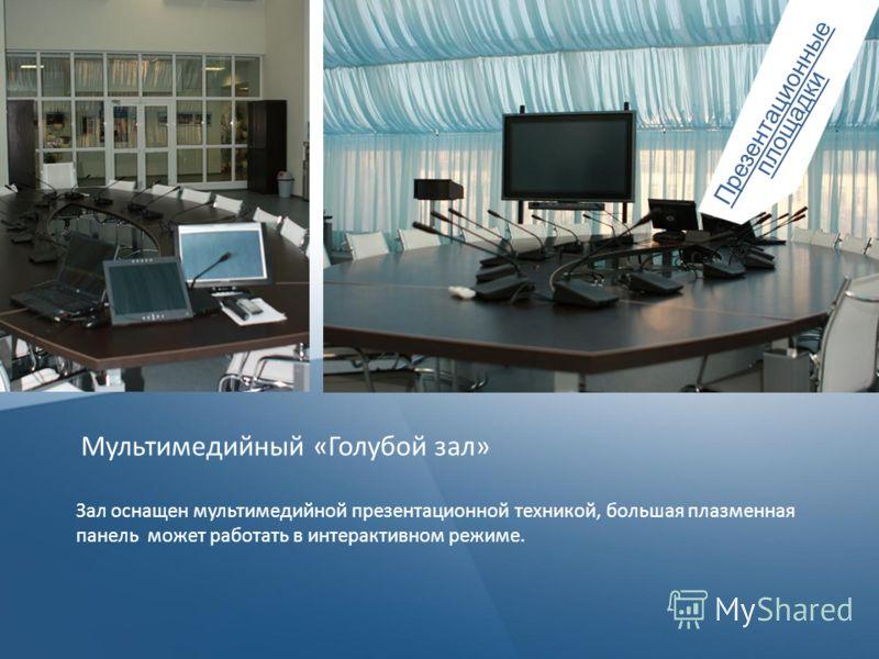 Презентационные площадки Мультимедийный «Голубой зал» Зал оснащен мультимедийной презентационной техникой, большая плазменная панель может работать в интерактивном режиме.
