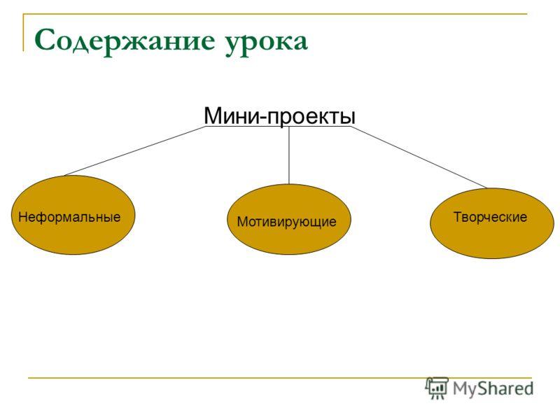 Содержание урока Мини-проекты Неформальные Мотивирующие Творческие