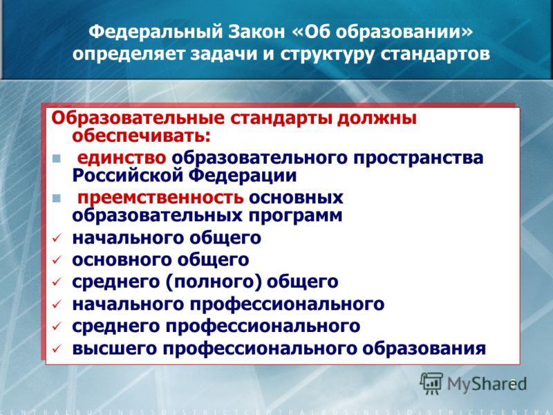 8 Федеральный Закон «Об образовании» определяет задачи и структуру стандартов Образовательные стандарты должны обеспечивать: единство образовательного пространства Российской Федерации преемственность основных образовательных программ начального обще