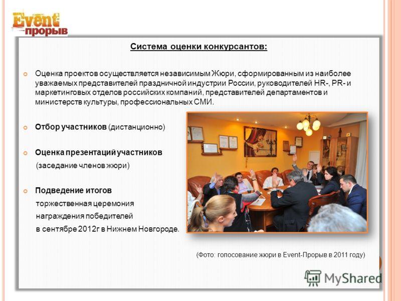 Система оценки конкурсантов: Оценка проектов осуществляется независимым Жюри, сформированным из наиболее уважаемых представителей праздничной индустрии России, руководителей HR-, PR- и маркетинговых отделов российских компаний, представителей департа