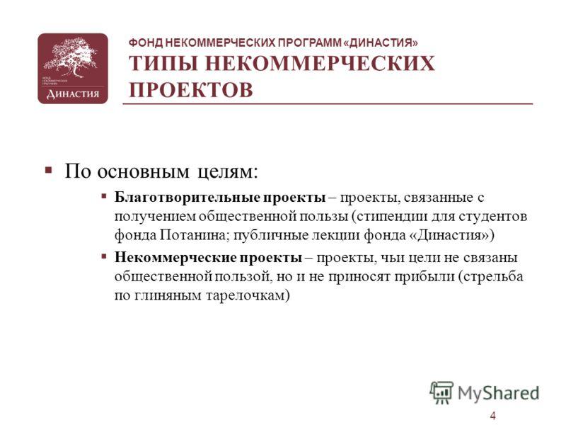 ФОНД НЕКОММЕРЧЕСКИХ ПРОГРАММ «ДИНАСТИЯ» 3 ЧТО ТАКОЕ НЕКОММЕРЧЕСКИЙ СЕКТОР? Сегодня в России существует довольно развитый по структуре и формам деятельности сектор благотворительной и некоммерческой деятельности: Общий объем сектора – 1,5 млрд. доллар