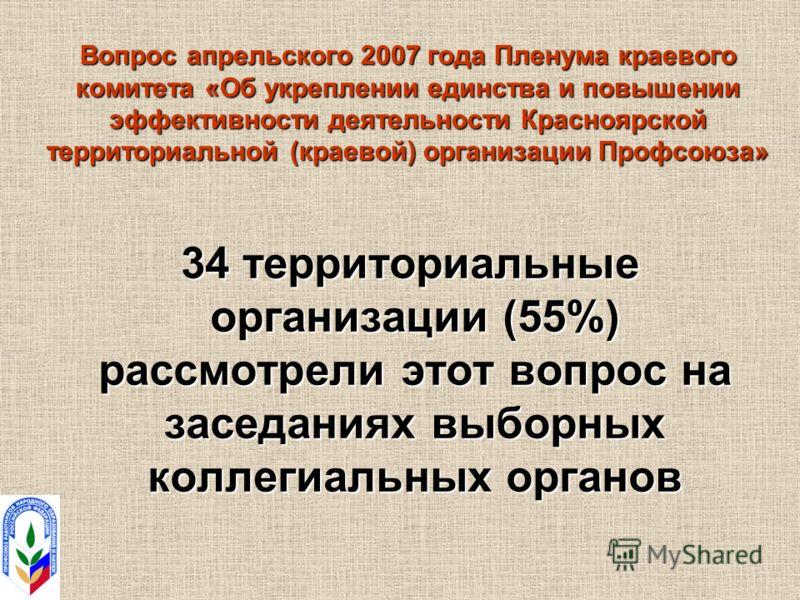 Вопрос апрельского 2007 года Пленума краевого комитета «Об укреплении единства и повышении эффективности деятельности Красноярской территориальной (краевой) организации Профсоюза» 34 территориальные организации (55%) рассмотрели этот вопрос на заседа