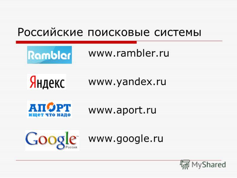 Российские поисковые системы www.rambler.ru www.yandex.ru www.aport.ru www.google.ru
