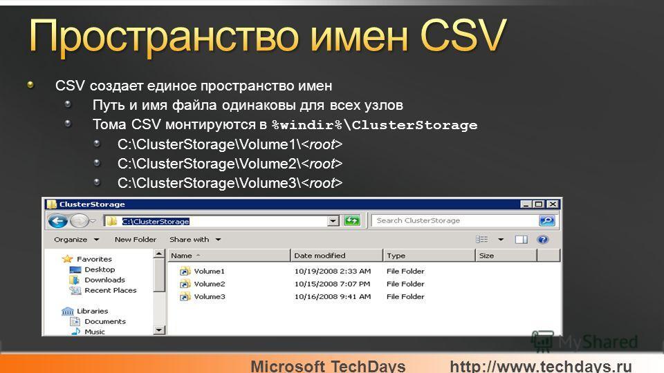 Microsoft TechDayshttp://www.techdays.ru CSV создает единое пространство имен Путь и имя файла одинаковы для всех узлов Тома CSV монтируются в %windir%\ClusterStorage C:\ClusterStorage\Volume1\ C:\ClusterStorage\Volume2\ C:\ClusterStorage\Volume3\