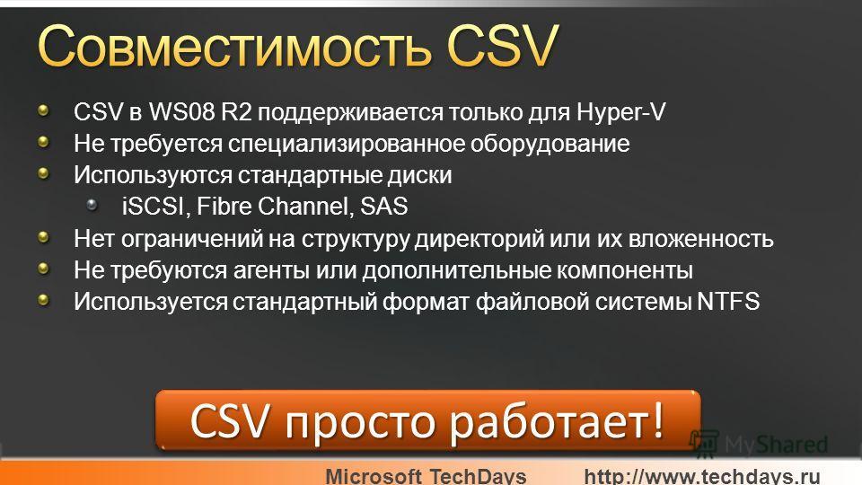 Microsoft TechDayshttp://www.techdays.ru CSV просто работает! CSV в WS08 R2 поддерживается только для Hyper-V Не требуется специализированное оборудование Используются стандартные диски iSCSI, Fibre Channel, SAS Нет ограничений на структуру директори
