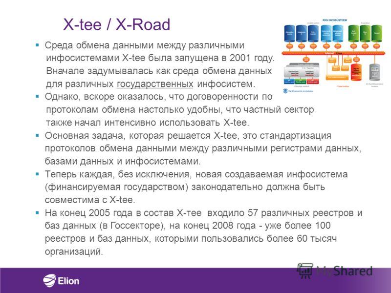 X-tee / X-Road Среда обмена данными между различными инфосистемами X-tee была запущена в 2001 году. Вначале задумывалась как среда обмена данных для различных государственных инфосистем. Однако, вскоре оказалось, что договоренности по протоколам обме