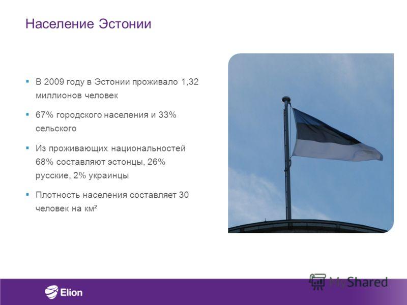 Население Эстонии В 2009 году в Эстонии проживало 1,32 миллионов человек 67% городского населения и 33% сельского Из проживающих национальностей 68% составляют эстонцы, 26% русские, 2% украинцы Плотность населения составляет 30 человек на км²