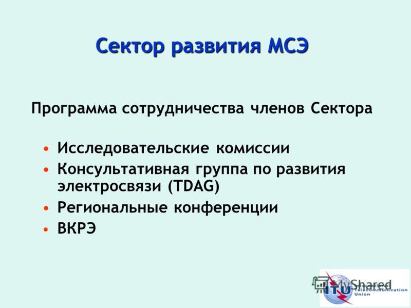 Сектор развития МСЭ Программа сотрудничества членов Сектора Исследовательские комиссии Консультативная группа по развития электросвязи (TDAG) Региональные конференции ВКРЭ