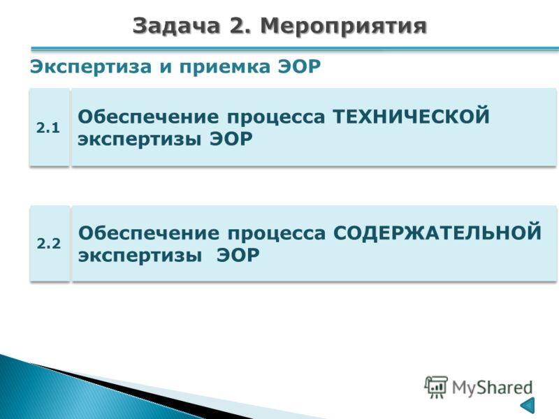 Обеспечение процесса ТЕХНИЧЕСКОЙ экспертизы ЭОР 2.1 Обеспечение процесса СОДЕРЖАТЕЛЬНОЙ экспертизы ЭОР 2.2 Экспертиза и приемка ЭОР