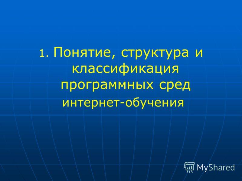 1. Понятие, структура и классификация программных сред интернет-обучения