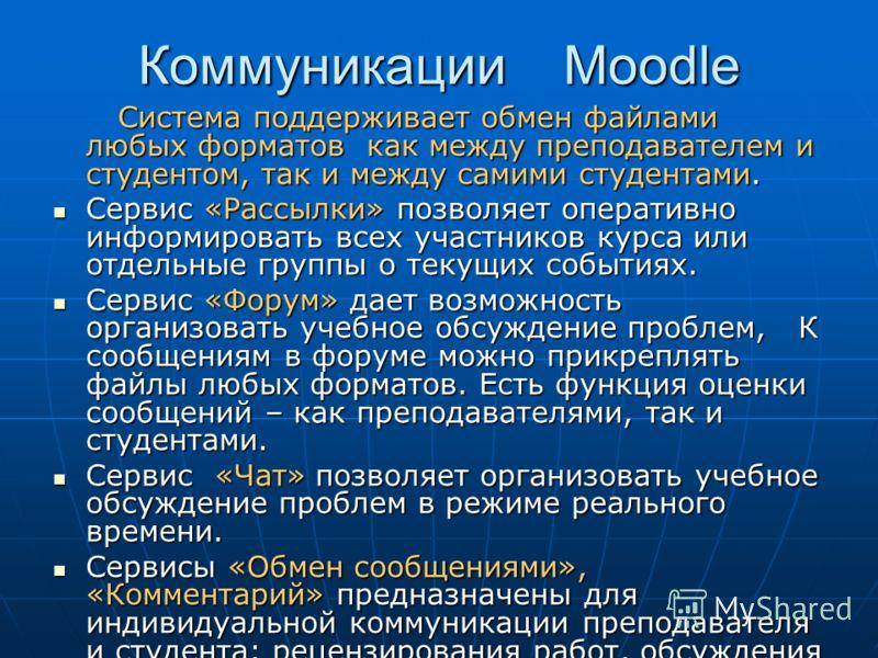 Коммуникации Moodle Система поддерживает обмен файлами любых форматов как между преподавателем и студентом, так и между самими студентами. Система поддерживает обмен файлами любых форматов как между преподавателем и студентом, так и между самими студ