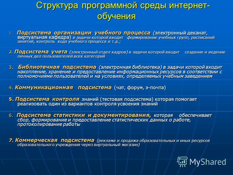Структура программной среды интернет- обучения Структура программной среды интернет- обучения 1. Подсистема организации учебного процесса (электронный деканат, виртуальная кафедра) в задачи которой входит формирование учебных групп, расписаний заняти