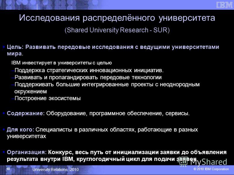 University Relations 2010 © 2010 IBM Corporation 10 Исследования распределённого университета (Shared University Research - SUR) Цель: Развивать передовые исследования с ведущими университетами мира. IBM инвестирует в университеты с целью –Поддержка