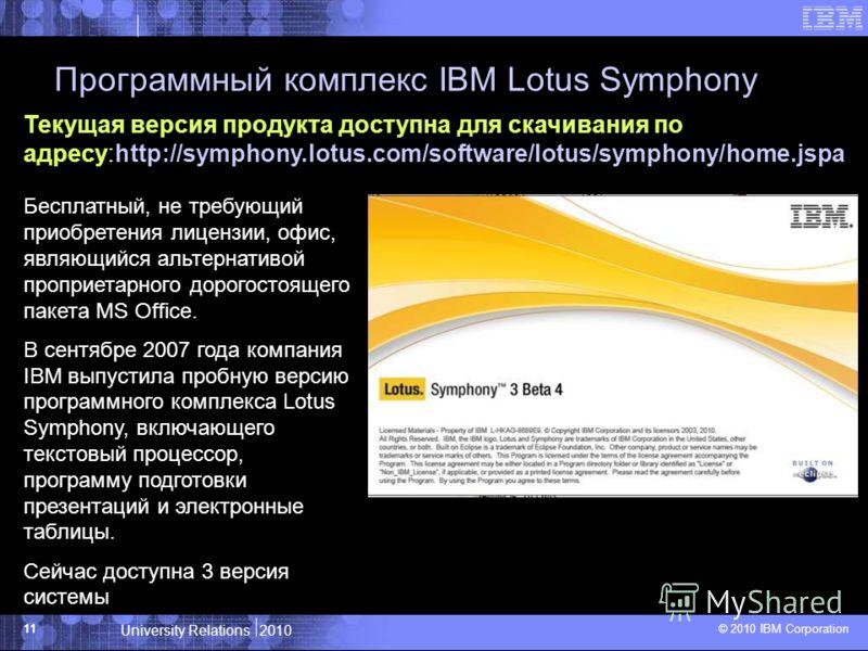 University Relations 2010 © 2010 IBM Corporation 11 Программный комплекс IBM Lotus Symphony Текущая версия продукта доступна для скачивания по адресу:http://symphony.lotus.com/software/lotus/symphony/home.jspa Бесплатный, не требующий приобретения ли