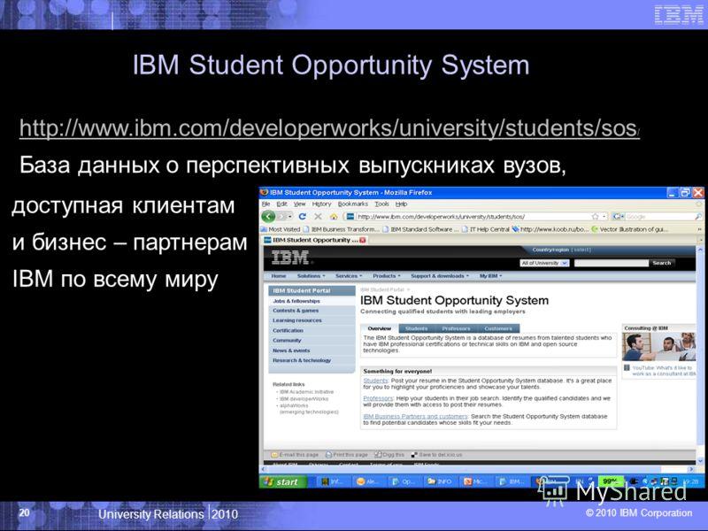 University Relations 2010 © 2010 IBM Corporation 20 IBM Student Opportunity System http://www.ibm.com/developerworks/university/students/sos / База данных о перспективных выпускниках вузов, доступная клиентам и бизнес – партнерам IBM по всему миру
