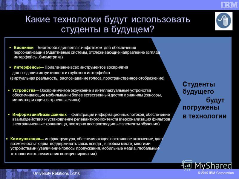 University Relations 2010 © 2010 IBM Corporation 3 Студенты будущего будут погружены в технологии Устройства Восприимчивое окружение и интеллектуальные устройства обеспечивающие мобильный и более естественный доступ к знаниям (сенсоры, миниатюризация