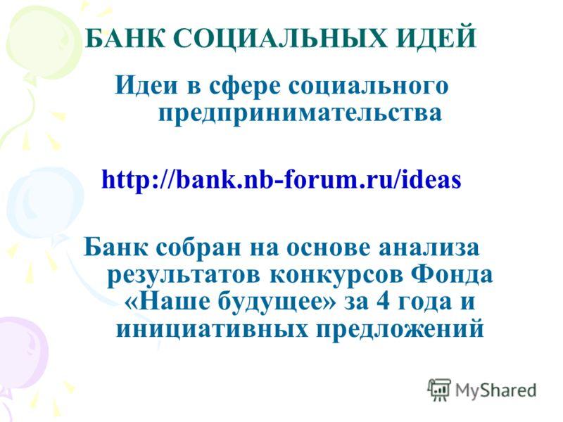 БАНК СОЦИАЛЬНЫХ ИДЕЙ Идеи в сфере социального предпринимательства http://bank.nb-forum.ru/ideas Банк собран на основе анализа результатов конкурсов Фонда «Наше будущее» за 4 года и инициативных предложений