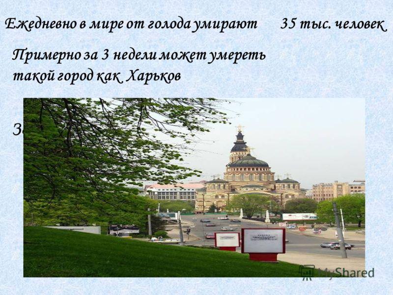 Ежедневно в мире от голода умирают 35 тыс. человек За год умирает -12 млн. чел Примерно за 3 недели может умереть такой город как Харьков