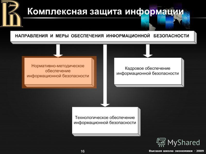 Высшая школа экономики - 2009 16 Комплексная защита информации