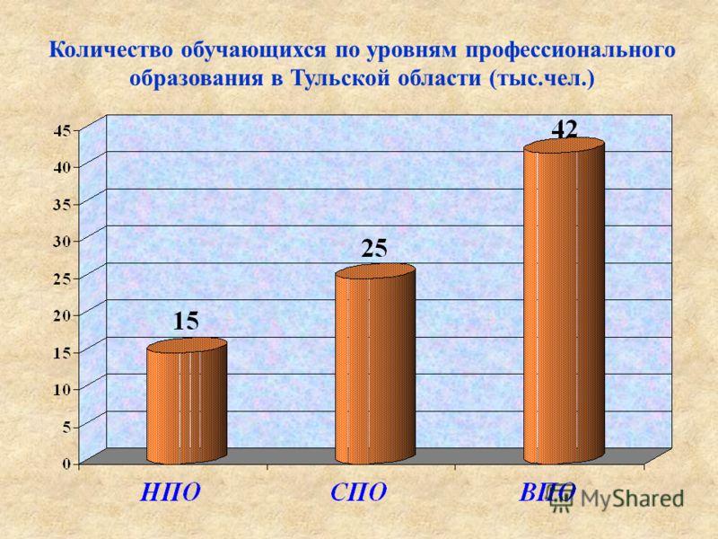 Количество обучающихся по уровням профессионального образования в Тульской области (тыс.чел.)