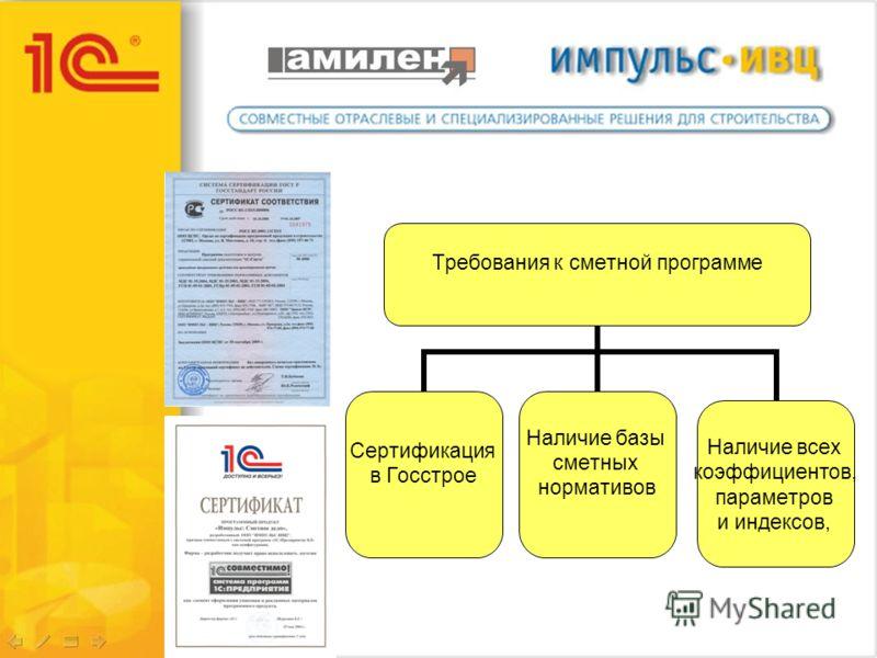 Требования к сметной программе Сертификация в Госстрое Наличие базы сметных нормативов Наличие всех коэффициентов, параметров и индексов,